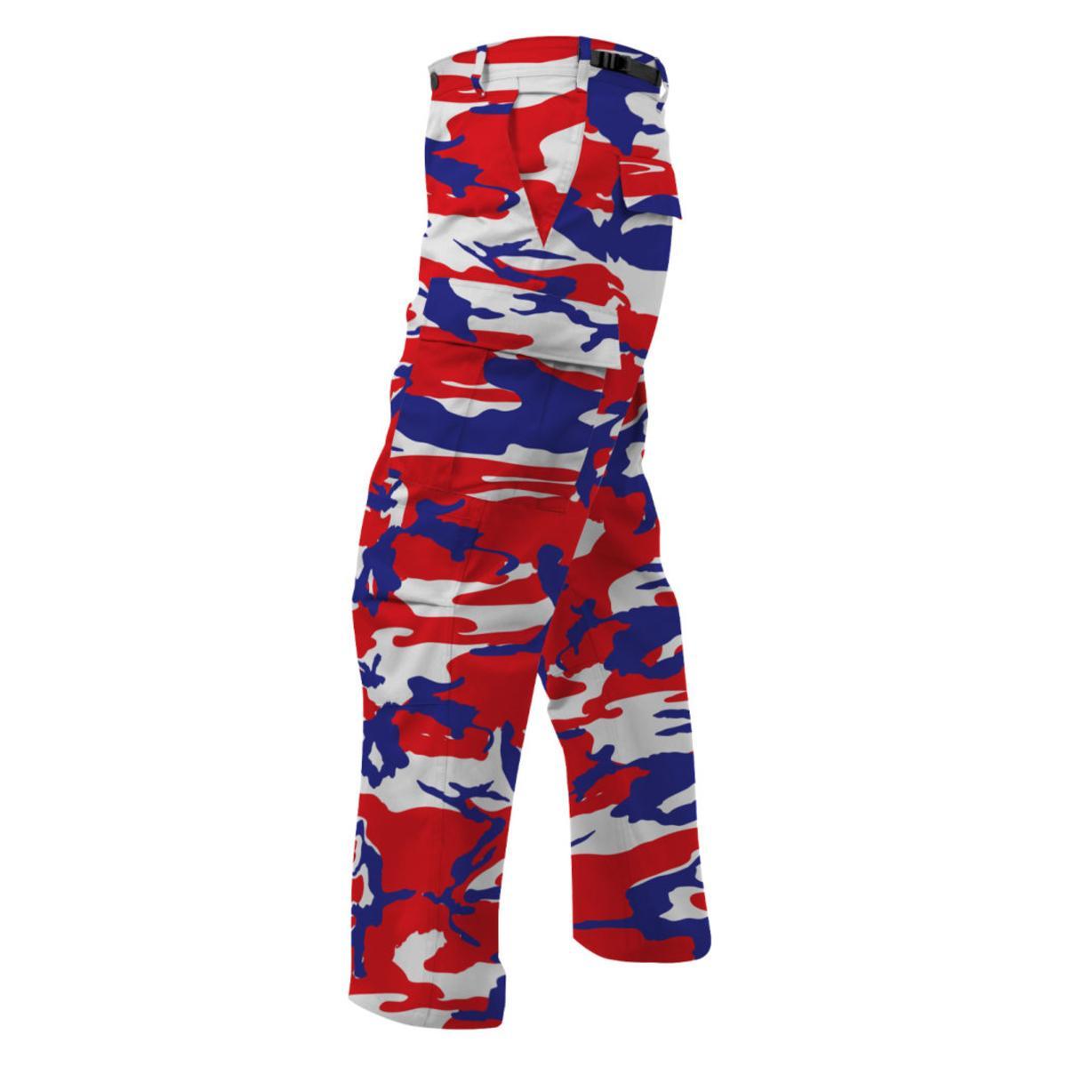nuovo arrivo 4eb86 48c3b Dettagli su Rothco Colore Camouflage Tactical Bdu Cargo Pantaloni, Rosso,  Bianco e Blu Camo